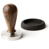 TAMPER  NIKKA WITH HANDLE IN VIOLET WOOD AND S.STEEL FLATE BASE 58mm