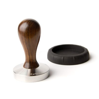 TAMPER  DROP WITH HANDLE IN VIOLET WOOD AND S.STEEL CONVEX BASE 58mm